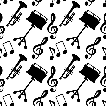 Musical seamless pattern with music notes, treble clef, trumpet, music stand in black and white - vector Illustration