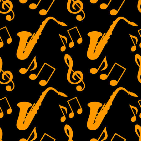Musical seamless pattern with music notes, treble clef, saxophone in black and gold  Vector