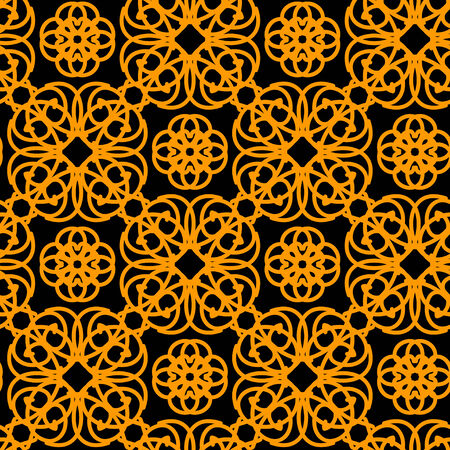 keltic: Abstract seamless pattern in black and gold  Wallpaper  Endless print silhouette texture  Retro  Vintage Style