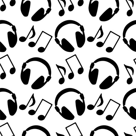 Seamless pattern with music notes and headphones in black and white