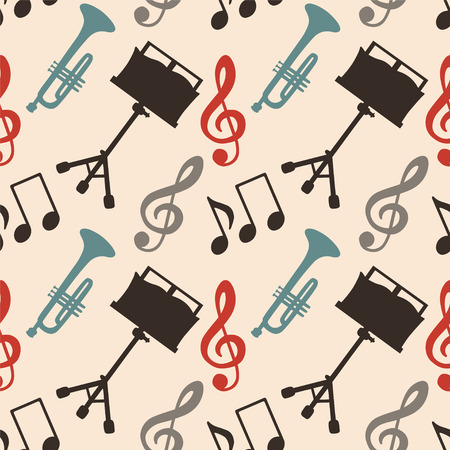 Musical seamless pattern with music notes, treble clef, trumpet, music stand  Endless print silhouette Texture  Retro  Vintage style  Vector