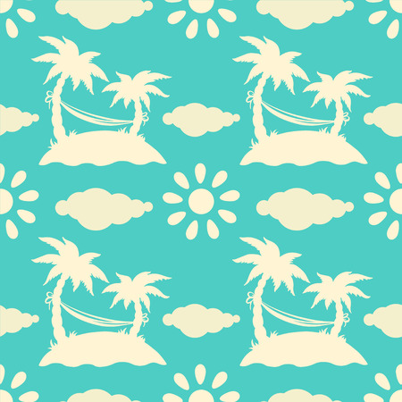 Seamless pattern with silhouettes coconut palm trees  Endless print silhouette texture  Summer  Hammock  Clouds  Sun  Retro  Vintage style  Vector