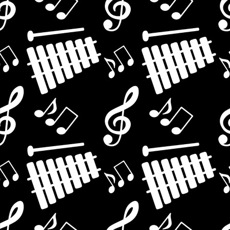 crotchet: Musical seamless pattern with silhouettes music notes, treble clef, xylophone in black and white - vector Illustration