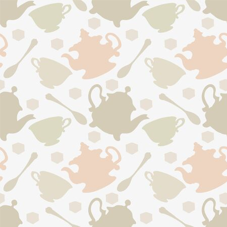 demitasse: Seamless pattern with tea cups, coffee cups, teaspoon and teapots. Endless print silhouette texture. Tea party background. Retro. Vintage style - vector Vettoriali
