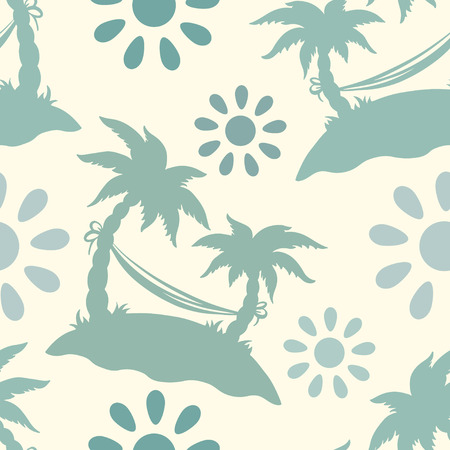 summery: Seamless pattern with silhouettes coconut palm trees. Endless print silhouette texture. Summer. Hammock. Clouds. Sun. Retro. Vintage style - vector