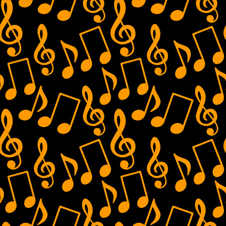 key signature: Musical seamless pattern with music notes, treble clef in black and gold - vector
