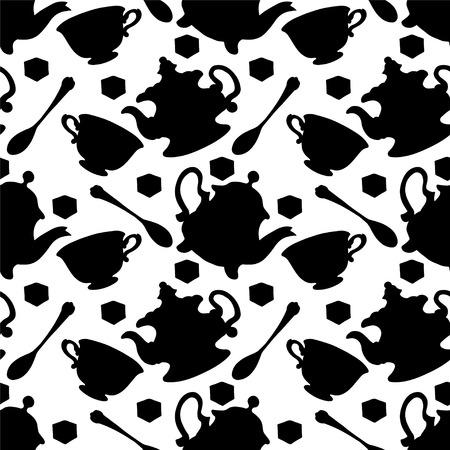 demitasse: Seamless pattern con tazze da t�, tazze da caff�, cucchiaino e teiere in bianco e nero. Endless tessitura di stampa silhouette. Sfondo partito del t�. Retro. Vintage style - vettore