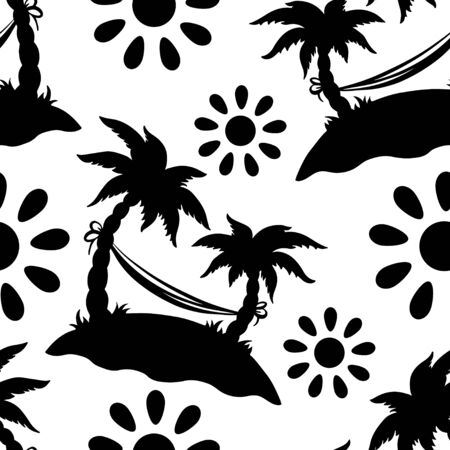 cartoon palm tree: Seamless pattern with silhouettes coconut palm trees. Endless print silhouette texture in black and white. Summer. Hammock. Sun. Cartoon style - vector