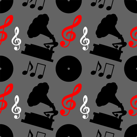 Musical seamless pattern with music notes, treble clef, gramophone. Wallpaper. Endless print silhouette texture. Retro. Vintage style - vector Illustration