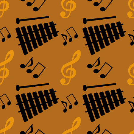 key signature: Seamless pattern with silhouettes musical notes, treble clef, xylophone. Endless Print Silhouette Texture. Hand Drawing. Retro. Vintage Style - vector