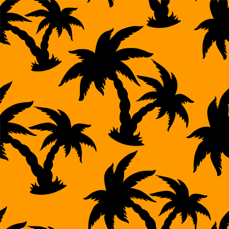 cartoon palm tree: Seamless pattern with black silhouettes coconut palm trees - vector Illustration