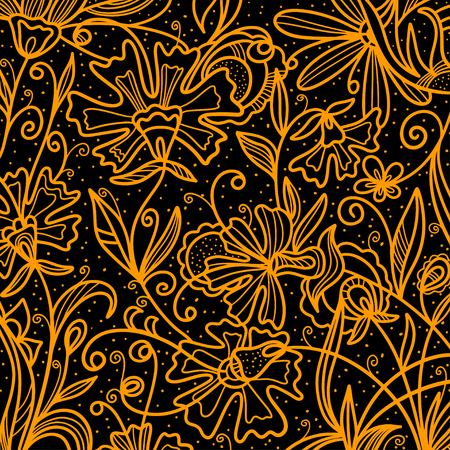 gold leafs: Gold flowers on a black background hand drawing cartoon illustration - vector