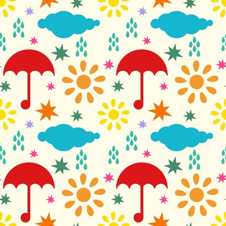 Seamless pattern with silhouettes clouds, rain drops, sun, stars, umbrellas. Endless print texture - vector Illustration