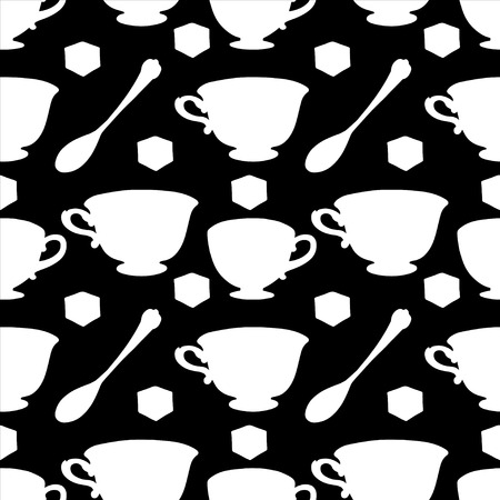 teaparty: Seamless pattern with tea cups, coffee cups, teaspoon and sugar cube. Endless print silhouette texture. Tea party background. Retro. Vintage style