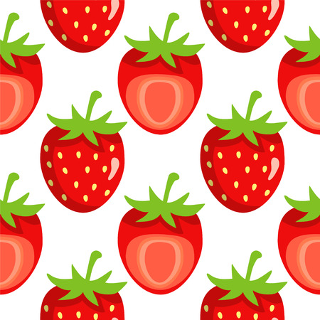 strawberry cartoon: Seamless pattern with cartoon strawberry on a white background
