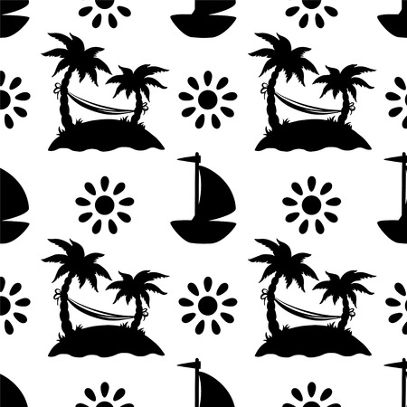 cartoon palm tree: Seamless pattern with silhouettes coconut palm trees in black and white. Endless print silhouette texture. Summer. Hammock. Yacht. Sun Illustration