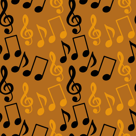 funk: Seamless pattern with musical notes, treble clef in black and gold  Illustration
