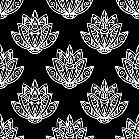 nenuphar: Abstract floral seamless pattern with lotus flowers in black and white. Water lily. Hand drawing illustration. Endless print texture. Retro. Vintage style