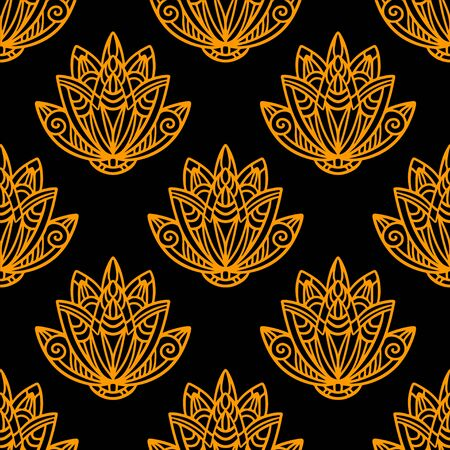 flower line: Abstract floral seamless pattern with lotus flowers in black and gold. Water lily. Hand drawing illustration. Endless print texture. Retro. Vintage style