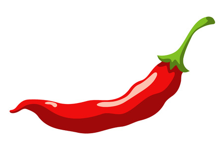 capsaicin: Red hot chili pepper isolated on a white background cartoon illustration