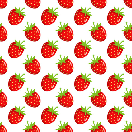 Seamless pattern with cartoon strawberry on a white background - vector