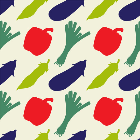 pea pod: Seamless pattern with silhouettes vegetables. Pepper. Leek. Pea pod. Eggplant - vector Illustration