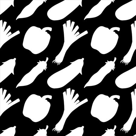 leek: Seamless pattern with silhouettes vegetables. Pepper. Leek. Pea pod. Eggplant in black and white - vector