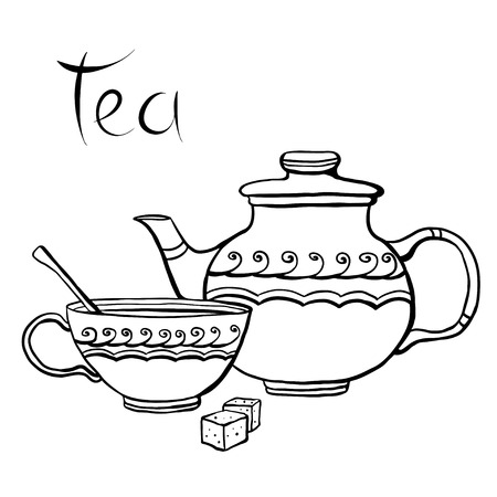 demitasse: Teapot, cup and sugar isolated on a white background hand drawn illustration - vector