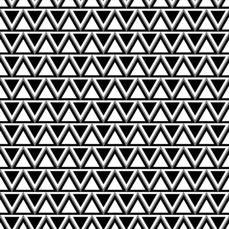 ethnical: Abstract geometric seamless pattern with triangles in black and white - vector