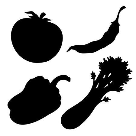 bell tomato: Black silhouettes vegetables set  isolated on a white background. Tomato. Bell pepper. Red chili pepper. Celery. Icons - vector