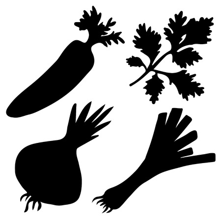 leek: Black silhouettes vegetables set  isolated on a white background. Carrot. Parsley. Onion. Leek. Icons - vector Illustration