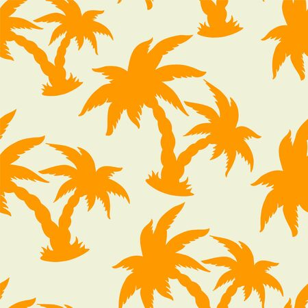 cartoon palm tree: Seamless pattern with silhouettes coconut palm trees
