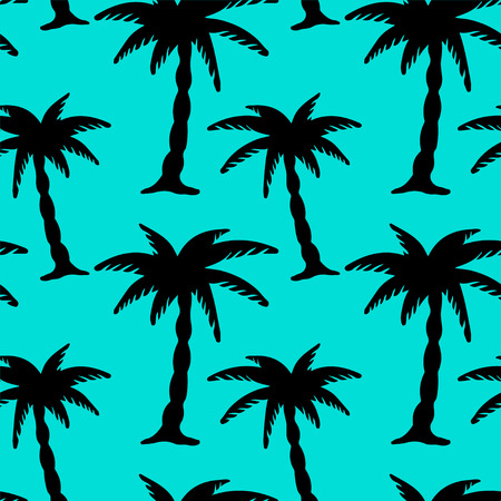 Seamless Pattern with Coconut Palm Trees in Black and Blue. Endless Print Silhouette Texture. Ecology. Forest. Jungle. Hand Drawing. Cartoon Style - vector