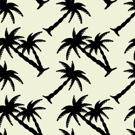 Seamless Pattern with Coconut Palm Trees in Black and White. Endless Print Silhouette Texture. Ecology. Forest. Jungle. Hand Drawing. Cartoon Style - vector