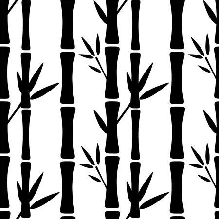 japones bambu: Patrón transparente con siluetas negras de árboles de bambú y hojas sobre un fondo blanco. Textura de impresión sin fin. Bosque - vector