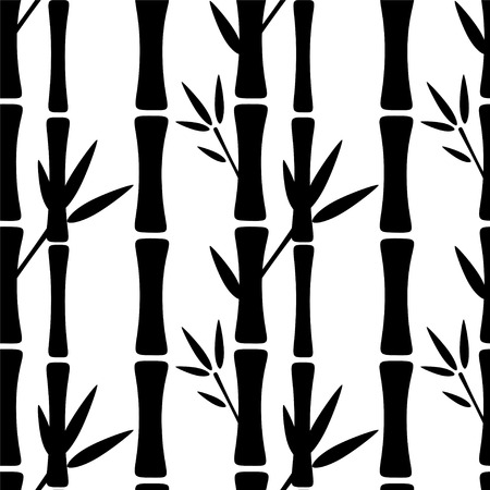 Seamless pattern with black silhouettes bamboo trees and leaves on a white background. Endless print texture. Forest - vector Иллюстрация