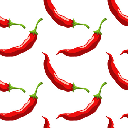 chilli pepper: Seamless pattern with cartoon red hot chili peppers on a white background. Vegetables. Food - vector