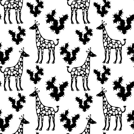 camelopard: Seamless Pattern with Giraffes and Cactus in Black and White. Endless Print Texture. Hand Drawing. Cartoon Style - vector