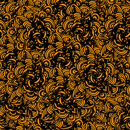 gold leafs: Abstract floral retro seamless patterns in black and gold. Flowers. Waves. Endless print texture - vector