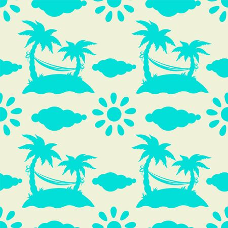 artoon: Seamless pattern with silhouettes coconut palm trees. Endless print silhouette texture. Summer. Hammock. Sun. Clouds. Island. Hand drawing. artoon style - vector