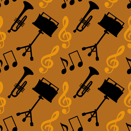 key signature: Musical seamless pattern with music notes, treble clef, trumpet, music stand. Endless print silhouette Texture. Retro. Vintage style - vector