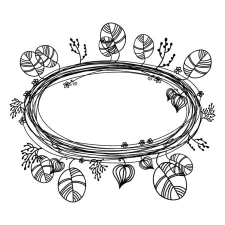 circle flower: Holiday floral frame isolated on a white background. Ecology. Trees. Summer. Flowers. Wreath. artoon style - vector