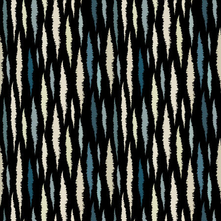 stripes seamless: Abstract art grunge seamless pattern. Paint stains. Stripes. Striped print silhouette background texture. Ikat. Decorative waves, water - vector