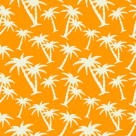 cartoon palm tree: Seamless pattern with white silhouettes coconut palm trees on a orange background. Endless print texture. Hand drawing. Summer. Forest. Jungle - vector