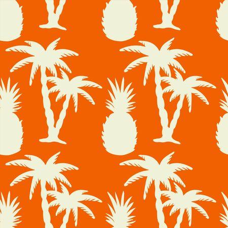 naranja arbol: Patrón transparente con siluetas blancas de coco palmeras y piñas en un fondo naranja. Textura de impresión sin fin. Dibujo a mano. Fruta. Alimentos. Naturaleza. Verano - vector Vectores