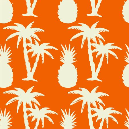 Seamless pattern with white silhouettes coconut palm trees and pineapples on a orange background. Endless print texture. Hand drawing. Fruit. Food. Nature. Summer - vector