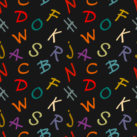 alphabet wallpaper: Abstract seamless pattern with colorful letters on dark background. Alphabet. Lettering. Calligraphy. Rainbow. Child education ornament. Hand drawn. Fabric, textile design. Endless silhouette print texture. Wallpaper - vector