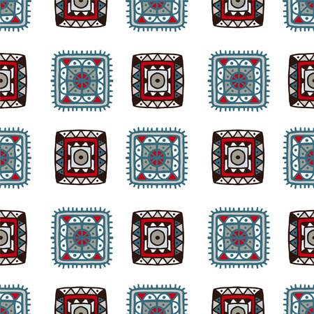 white patches: Colorful abstract geometric decorative ethnic seamless pattern with patches on a white background. Aztec ornament. Folk. Batik. Fabric, textile design. Patchwork. Endless print texture. Wallpaper - vector