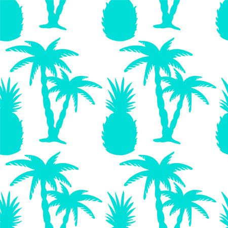 cartoon pineapple: Seamless Pattern with Tropical Coconut Palm Trees and Pineapples in Blue and White. Endless Print Silhouette Texture. Forest. Tropic. Food. Fruits. Hand Drawing. Cartoon Style - vector