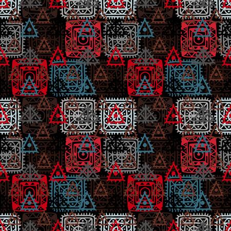 batik: Colorful abstract decorative ethnic seamless pattern. Folk ornament. Lace. Batik. Geometric background. Fabric, textile design. Endless print texture. Wallpaper - vector
